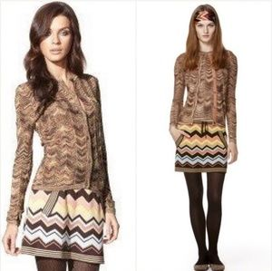 Missoni | Brown Tan Metallic Chevron Cardigan